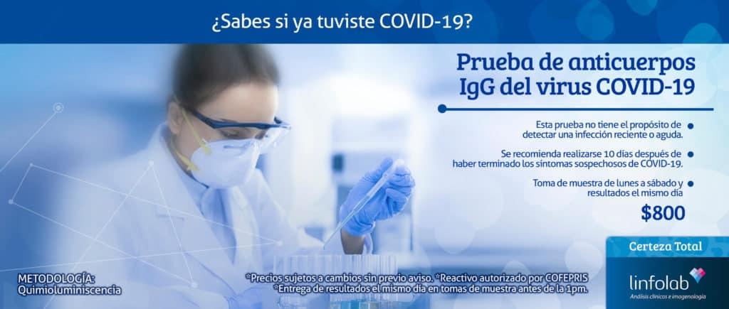 Prueba del Covid-19 Linfolab Antígeno IgG