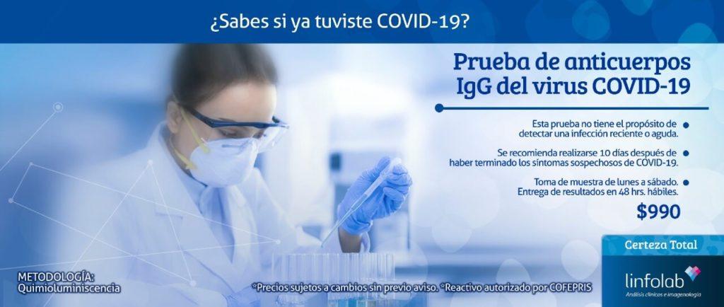 Prueba de anticuerpos IgG del virus Covid-19